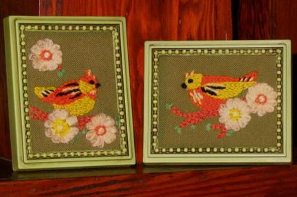 yarn embroidered birds