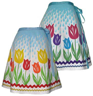 Tulip Garden April Showers Print Wrap Skirt with Rick Rack Trim