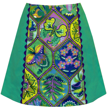 Vintage Greenery Print A-line Skirt with Purple Jumbo Rick Rack Trim