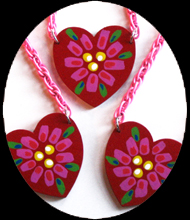 painted heart necklace