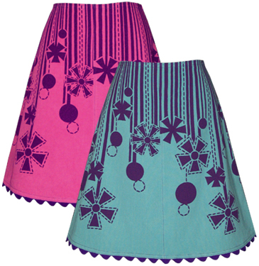 purple posies skirt