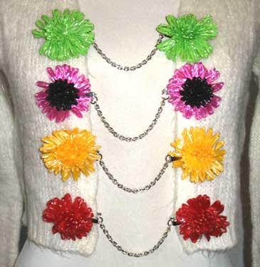 raffia flower sweater clips